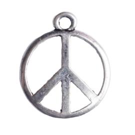 10 x metalen hanger vrede zilver kleur 27,5 x 23mm oogje: 3mm