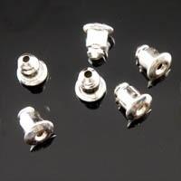 20 stuks verzilverde oorbel stoppers  5 x 6mm of te gebruiken als dopjes voor spelden!