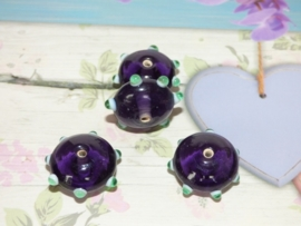 3 x High Quality Glass Hand Made Bead 133 afm. ca.  11 x 20mm