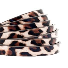 1 meter plat 5mm imi leer leopard print Vintage pink