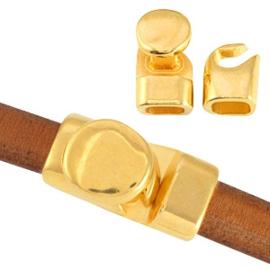 DQ metaal sluiting (voor Divino leer/koord) Goud (nikkelvrij)