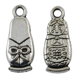 10x Tibetaans zilveren matroesjka bedel 22×9×4mm, Gat: 3mm
