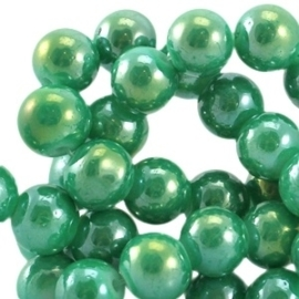 20 stuks Diamond coated glaskralen 6mm Gumdrop green