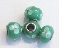 Per stuk Glaskraal met metaal European-style Groen stippen 14 mm