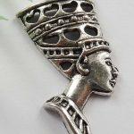 Tibetaans zilveren hanger van een Egyptische Farao NEFERTITI 39×19×4mm, gat 3mm