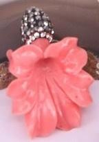 1 x Prachtige bloemkelk van Resin met strass 25 x 35mm  gat 1mm rose