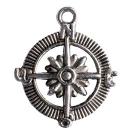 5 x metalen hanger compas zilver kleur 29,5 x25 mm oogje: 2,5mm
