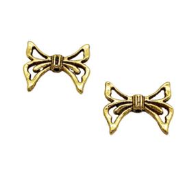 4 x Tibetaans zilveren Engelen vleugeltje 17 x 20 x 4mm Gat 1,5mm goudkleur