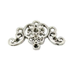 4 x Prachtig Tibetaans zilveren ornament 16 x 24 x 2mm gat: 1,5mm geschikt voor puntsteentjes van 1 tot 3mm