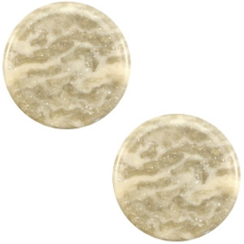 1 x 12 mm platte cabochon Polaris Elements Stardust Sand beige