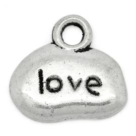 """10 stuks Tibetaans zilveren bedeltjes """"love""""  12 x 11mm gat: 2mm ♥"""