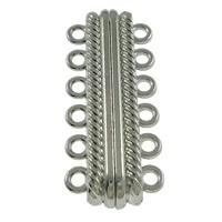 Luxe magneetsluiting voor 6 rijen 33 x 14 x 7mm gat: 2mm platinum