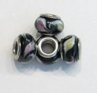 Per stuk Glaskraal European-style zwart met roze en geel 13 mm