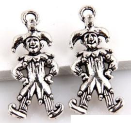 10 x Tibetaans zilveren 3D bedel Paljas clown 25x10mm