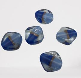 5x Glaskraal india ruit donker blauw/licht blauw 17x6mm gat : 1,6mm