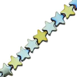 5 x Hematite kralen ster 4mm Indicolite blue