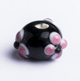 5 x handgemaakte glaskraal met zwart roze wit motief; Ø 14 mm x 9 mm, Gat 3 mm