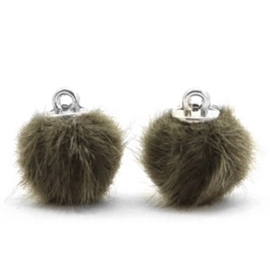 2 x Pompom bedels faux fur 12mm Olive green (op is op!)