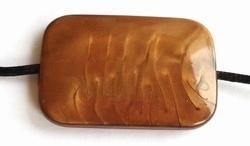 Per stuk Kunststof kraal plat rechthoekig gemeleerd Brons / bruin 40 mm