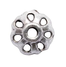 10 x metalen kraalkapje zilver kleur 8 x 3mm gat: 1,5mm