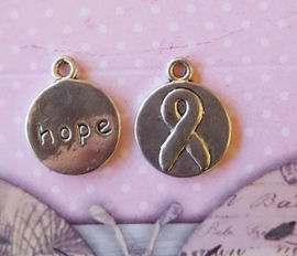 2 x DQ metalen bedel hope ribbon 16 x 20mm oogje: 1,7mm ♥