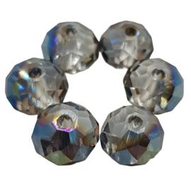 10 x briolette Kristal facet donut; 6 mm x 8 mm, Gat 1,6 mm