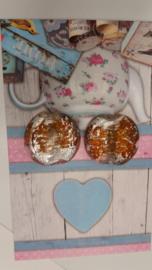 1x zilverfolie kaal rond wit/bruin 38x35 Gat: 3,5 mm