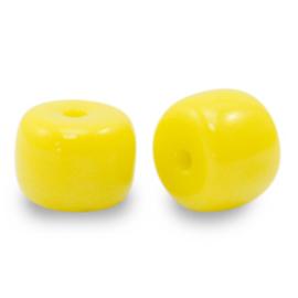 20 x rondellen glaskralen Yellow  6mm