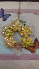 5x acryl kraal gele bloem met mooie glans 16 mm