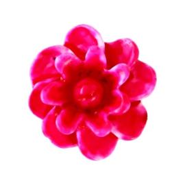 5 x Bloemen kralen 12mm Light fuchsia Rijggat: ± 0.8 mm