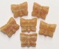 10 x  glaskraal vlinder mat beige gemeleerd 15 mm