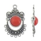 1 x Tibetaans zilveren bedel hanger met rode natuursteen