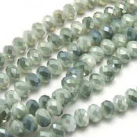 15 x Topfacet 8x6 mm Olijfgroen Zilver Wit Diamond Coated