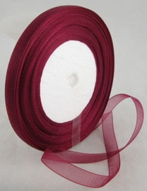 5 meter Organza lint 10mm breed per meter,  Bordeaux rood