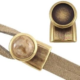 1x DQ metaal eindkap/sluiting voor 12mm cabochon (voor 2x5mm draad/leer) Antiek brons
