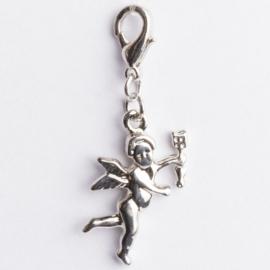 Be Charmed bedel engel met karabijnsluiting zilver met een rhodium laag (nikkelvrij)