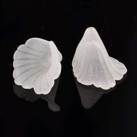 10 x prachtige acryl bloem kelk wit  20 x 20 x 2mm gat: 1,5mm