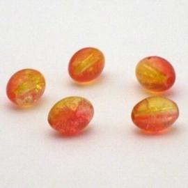 30 stuks crackle glas kralen ovaal 11 x 8,5mm oranje geel