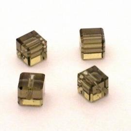 6x Preciosa Handgeslepen kristal kraal 8mm licht bruin