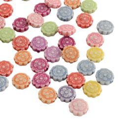25 x Vrolijke gemixte acryl kralen bloem