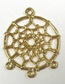DQ metalen bedels dreamcatcher  Goud  34 x 28 x 2mm
