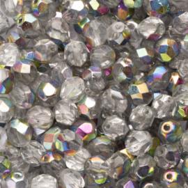 10 x  ronde Tsjechië  kristal kralen 6 mm kleur: ab zilver Afm: Gat c.a: 1mm