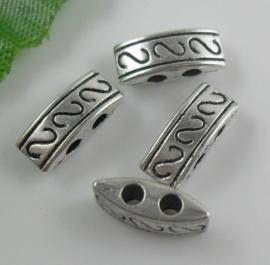 10 x Tibetaans zilveren tussenzetsel  verdeler 10 x 5 x 4mm Gat: 1mm