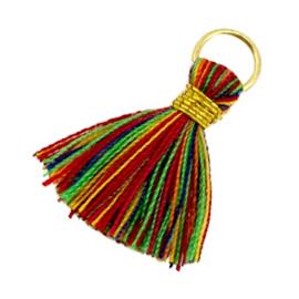 2 x Kwastjes Ibiza style 1.8cm Goud-multicolor rood groen