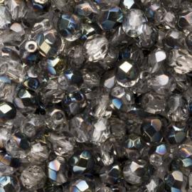 10 x  ronde Tsjechië  kristal kralen 6 mm kleur: ab grijs transparant Afm: Gat c.a: 1mm
