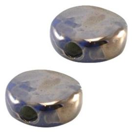 1 x DQ Griekse keramiek kralen 13mm rond plat Mauve blauw/zilver ca. 13 mm Ø 2.5 mm