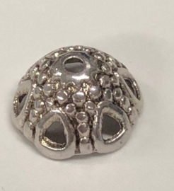 10x Tibetaans Zilveren Kralenkapjes 7mm lang, 12mm wijd, gat: 1.5mm