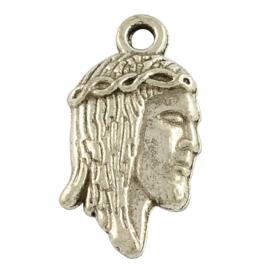 5 x Tibetaans zilveren bedel van Jezus 18,5x 10 x 2mm Gat: 1mm
