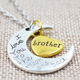 Prachtige ketting 5cm bedel: love you to the moon and back Brother Broer ketting: 40cm