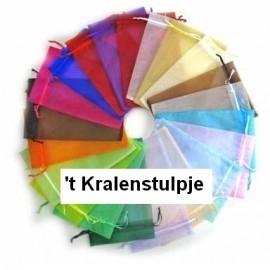 c.a. 100 stuks assortiment organza zakjes 9x12cm gemixte effen zakjes met lintje 5 tot 8 kleuren